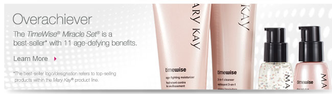 Overachiever. The TimeWise® Miracle Set® is a best-seller* with 11 age-defying benefits. Learn More. *The best-seller logo/designation refers to top-selling products within the Mary Kay® product line.