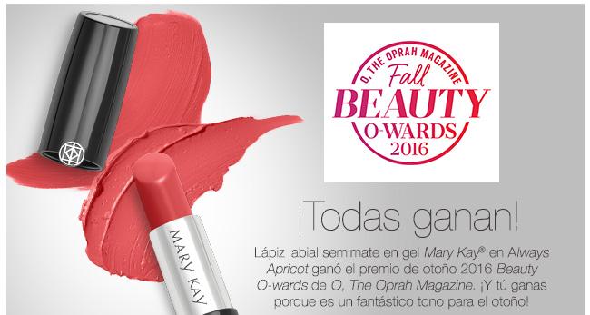 ¡Todas ganan! Lápiz labial semimate en gel Mary Kay® en Always Apricot ganó el premio de otoño 2016 Beauty O-wards de O, The Oprah Magazine. ¡Y tú ganas porque es un fantástico tono para el otoño!