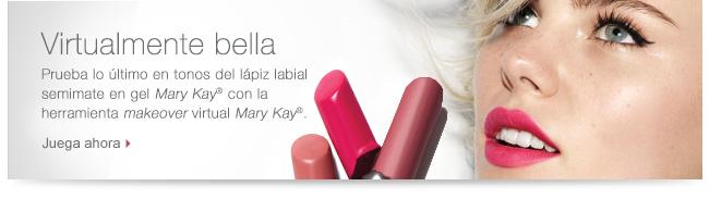 Virtualmente bella. Prueba lo último en tonos del lápiz labial semimate en gel Mary Kay® con la herramienta makeover virtual Mary Kay®. Juega ahora