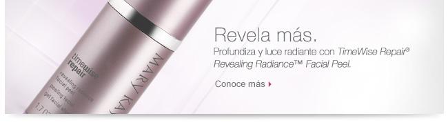 Revela más. Profundiza y luce radiante con TimeWise Repair® Revealing Radiance™ Facial Peel. Conoce más