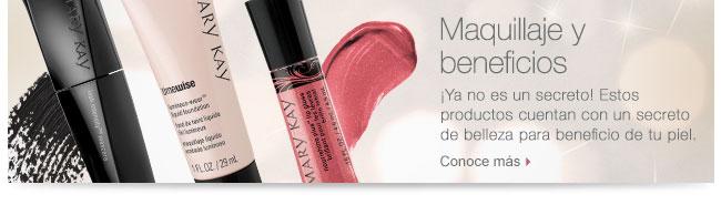 Maquillaje y beneficios             ¡Ya no es un secreto! Estos productos cuentan con un secreto de belleza para beneficio de tu piel.             Conoce más