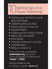 Learn about the 10 warning signs of an abusive relationship.