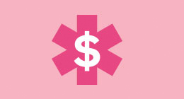 Pink illustration of First Aid sumbol and dollar sign.