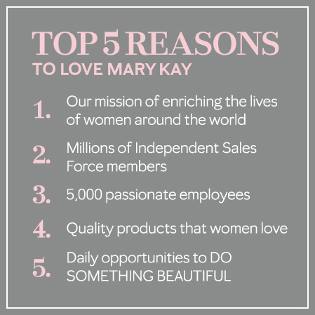 Gray image with pink and white text listing top five reasons to work at Mary Kay.