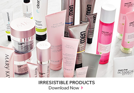Variety of Mary Kay skin care products in a group.