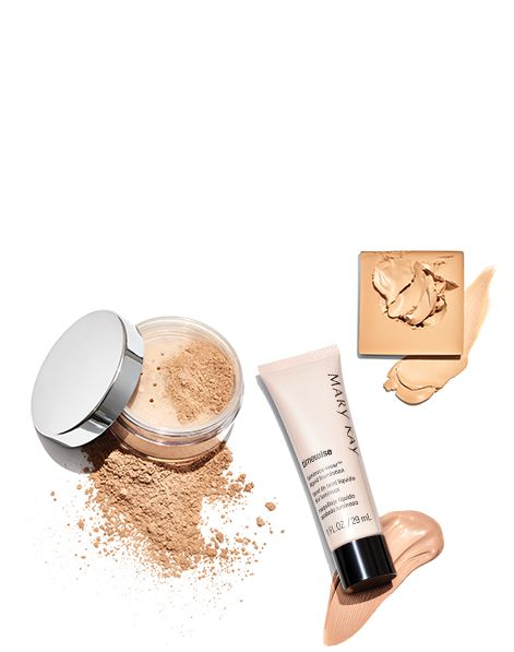 Examples of Mary Kay® foundation products: TimeWise® Liquid Foundation, Mineral Powder Foundation and Endless Performance® Crème-to-Powder Foundation