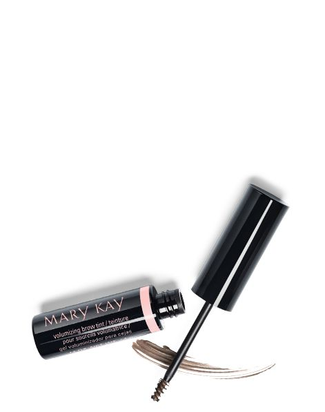 An open tube of Mary Kay Volumizing Brow Tint with wand placed over product smear.