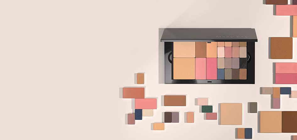 Neatly organized pans of makeup surround the new Mary Kay Pro Palette™.
