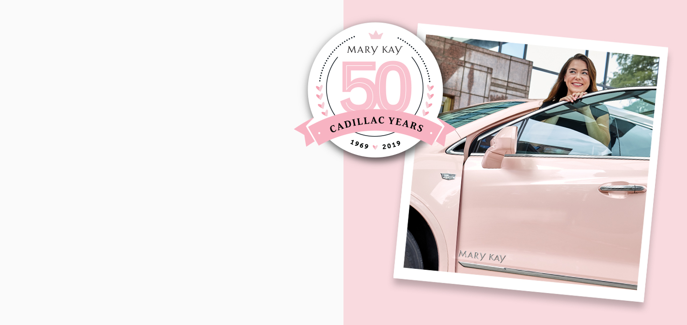 Woman getting into her Mary Kay® pink Cadillac®, celebrating the 50th anniversary of the pink Cadillac®