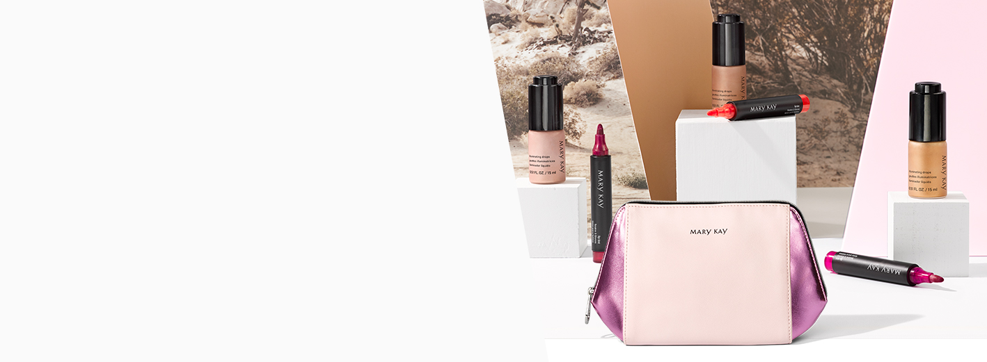 Three Mary Kay® Lip Tints and three Mary Kay® Illuminating Drops with a cosmetic bag in a desert backdrop.