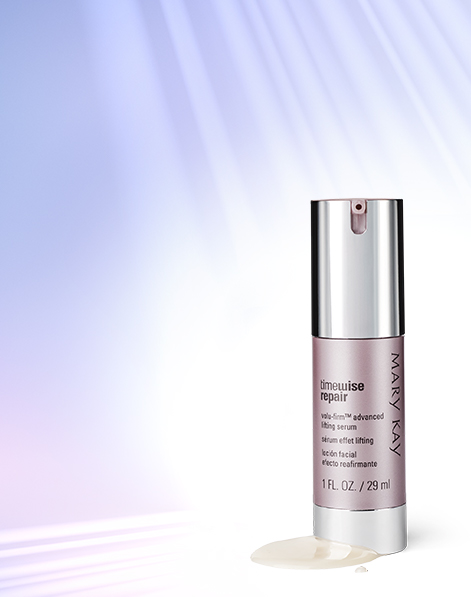 TimeWise Repair® Volu-Firm® Advanced Lifting Serum de Mary Kay frente a un fondo morado iluminado.
