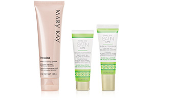 TimeWise Moisture Renewing Gel Mask and Satin Lips from Mary Kay standing against a white background.