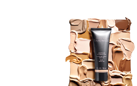 Mary Kay® TimeWise 3D™ foundation product tubes and swatches in ivory, beige and bronze skin tones