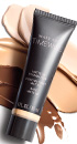 Mary Kay® TimeWise 3D™ foundation product tube and swatches in ivory, beige and bronze skin tones