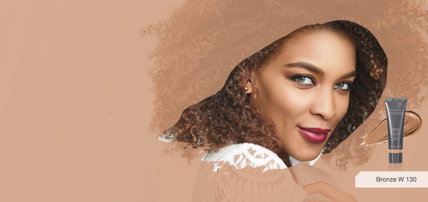 Woman surrounded by her matching foundation shade available with Mary Kay® TimeWise 3D™ foundation