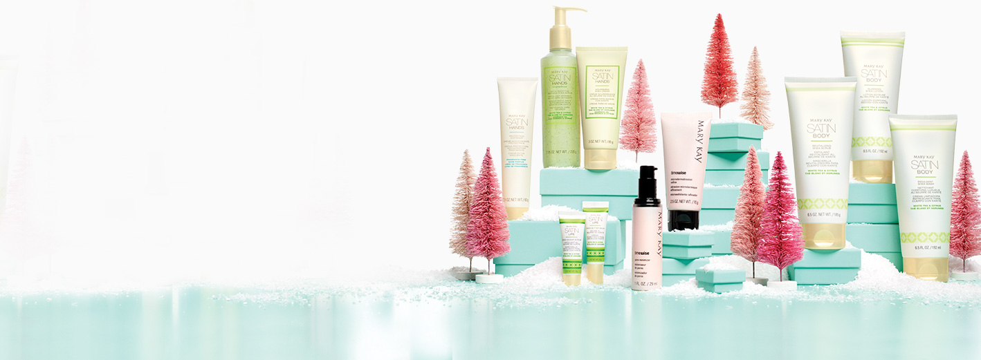 Satin Hands® products, Satin Body® products, Satin Lips® products, TimeWise® Microdermabrasion Plus Set on a snowy backdrop
