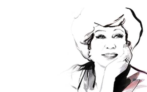 Illustration of  Mary Kay Ash against a white background.