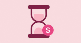 Illustration of pink hourglass with dollar sign.