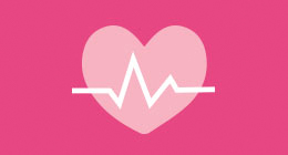 Pink illustration of heart and heart monitor symbol.