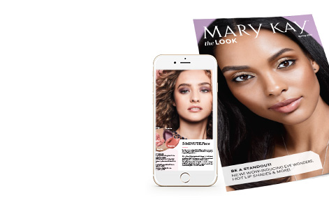 Cover of The Look from Mary Kay placed within a smartphone screen on a white background