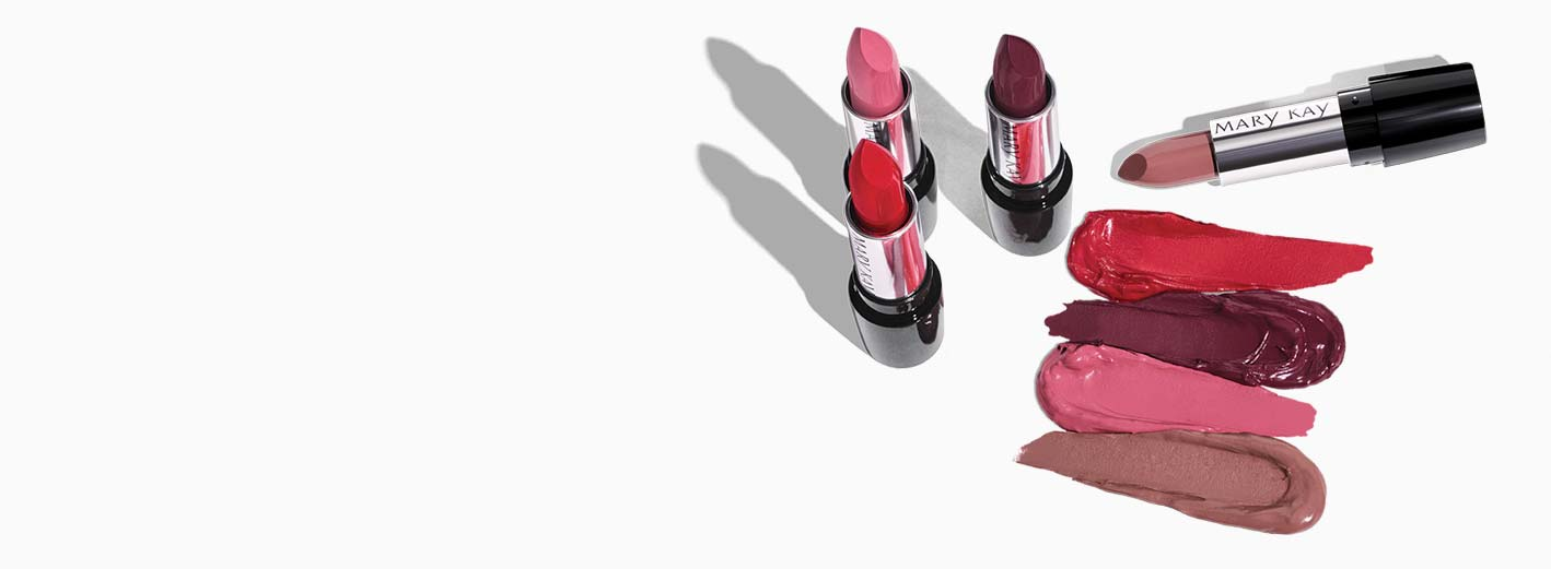 New Mary Kay® Gel Semi-Matte Lipsticks and shade rubs are shown against a white background.