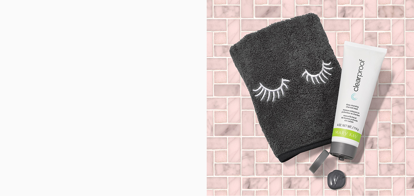 Get a FREE* limited-edition* Mary Kay® Masking Towel when you purchase the Clear Proof® Deep-Cleansing Charcoal Mask.