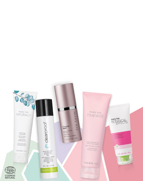 Mary Kay® skin care products from each product line set against a multicolored background.