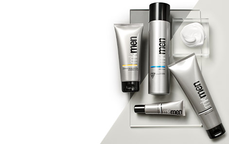 Mary Kay MKMen® Regimen products styled against a silver and white background atop a clear rectangle. White product smear is featured within a clear square.
