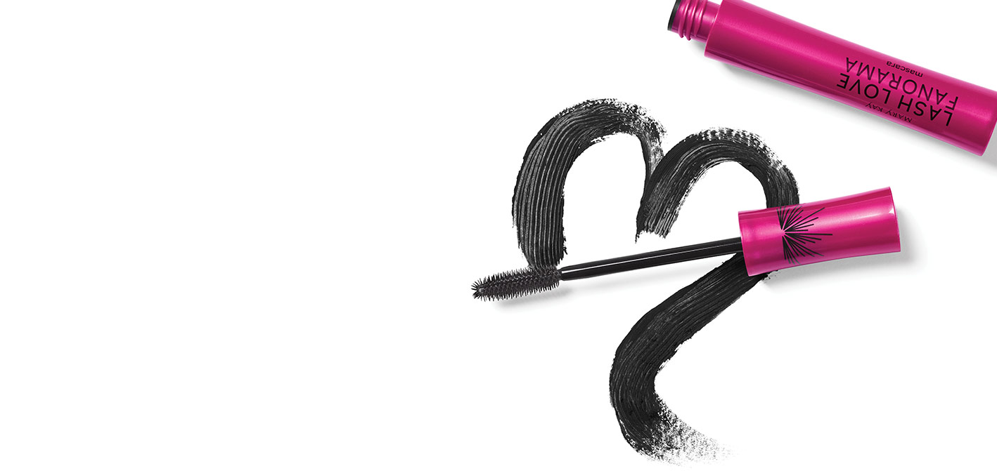 Lash Love Fanorama™ Mascara from Mary Kay with a wand-drawn black heart, the product wand and tube against a white background.