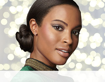 Close-up of model wearing Ever Green look from Mary Kay