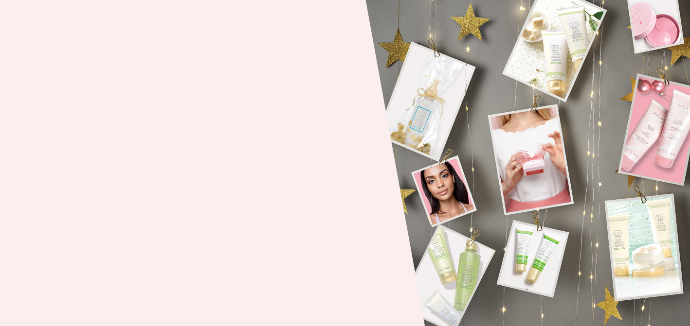 Pampering Mary Kay® products featured on postcards hanging from festive holiday fairy lights