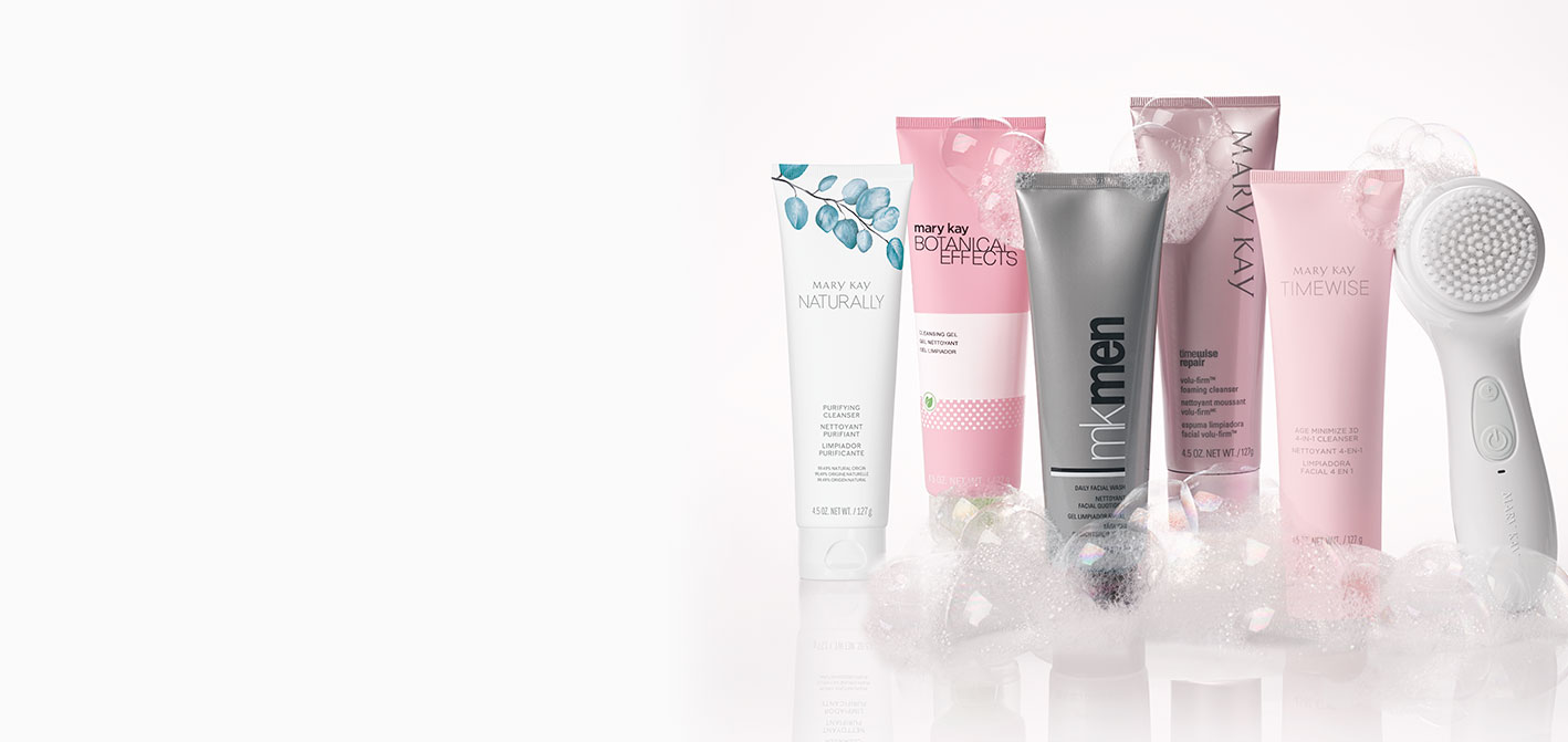 Mary Kay® cleansers for every skin care need shown with the Skinvigorate Sonic™ Skin Care System.