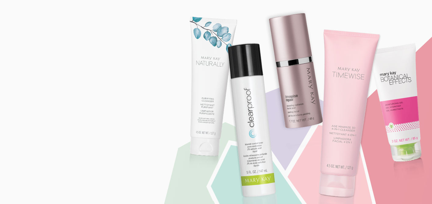Various Mary Kay® skin care products on a colorful background.