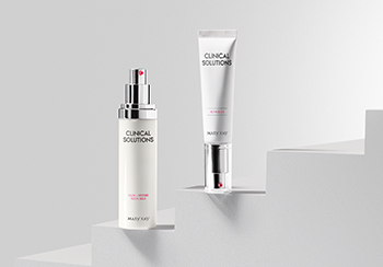 Image of Mary Kay Clinical Solutions™ Retinol 0.5 and Mary Kay Clinical Solutions™ Calm + Restore Facial Milk on stairsteps