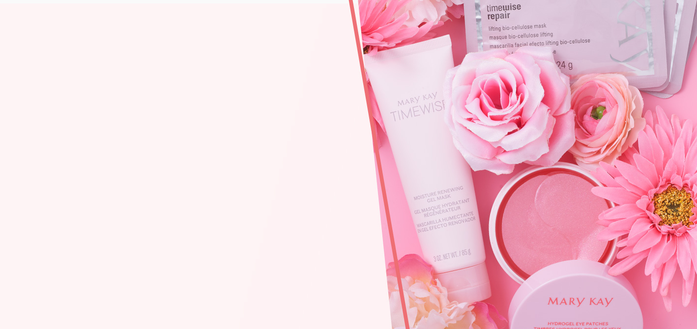 Mary Kay® skin care products including Mary Kay® Hydrogel Eye Patches, TimeWise® Moisture Renewing Gel Mask and TimeWise Repair® Lifting Bio-Cellulose Mask on a pink background with pink flowers