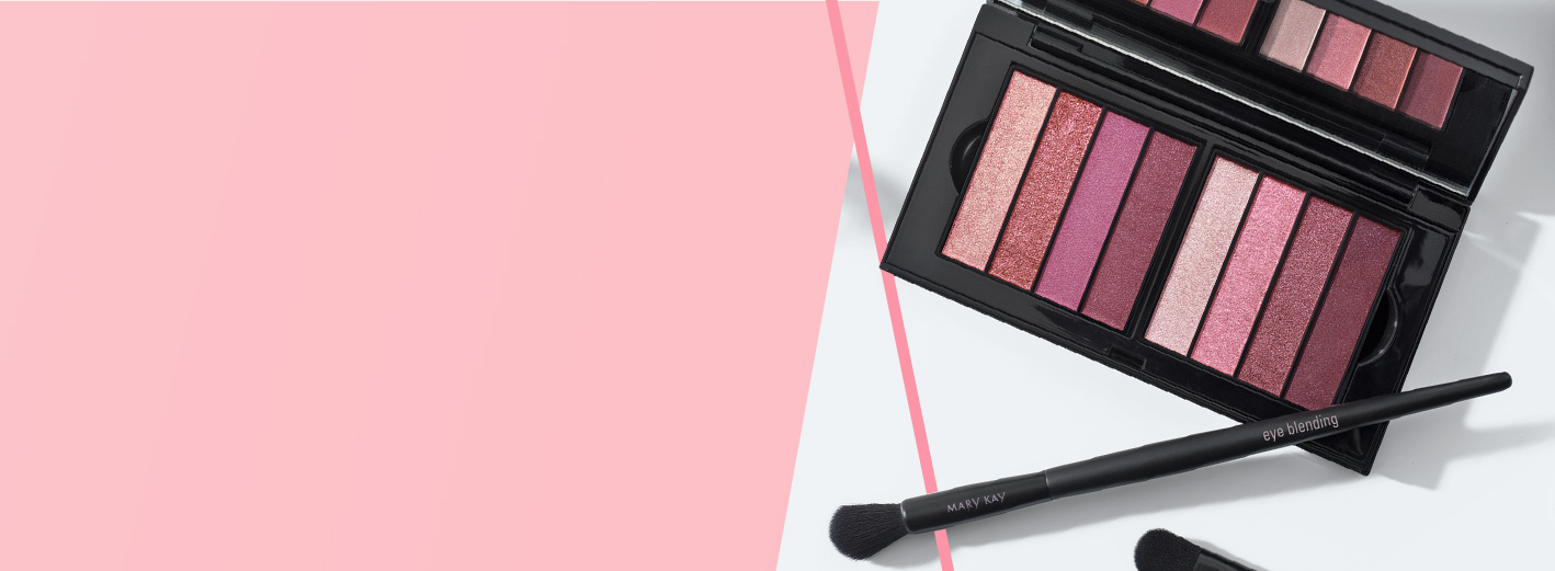 Limited-edition Mary Kay® Eye Shadow Quads inside a Mary Kay Perfect Palette® styled with makeup brushes