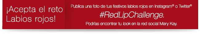 ¡Acepta el roto Labios rojos! Publica una foto de tus festivos labios rojos en Instagram® o Twitter® #RedLipChallenge. Podrias encontrar tu look en la red social Mary Kay.