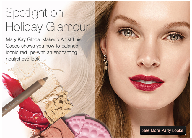 Spotlight on Holiday Glamour. Mary Kay Global Makeup Artist Luis Casco shows you how to balance iconic red lips with an enchanting neurtal eye look. See More Party Looks