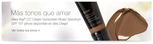 Un tono más que amar <i>Mary Kay</i>® <i>CC Cream Sunscreen Broad Spectrum SPF 15</i>* ¡ahora disponible en <i>Very Deep!</i> Ver todos los tonos
