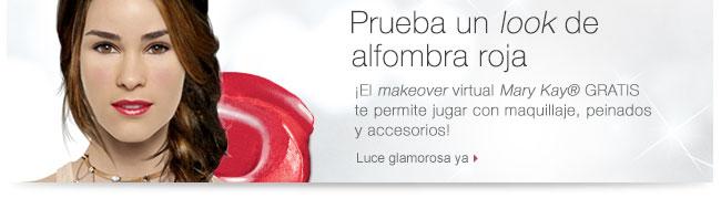 Prueba un <i>look</i>  de alfombra roja. ¡El <i>makeover </i>virtual <i>Mary Kay</i>® GRATIS te permite jugar con maquillaje, peinados y accesorios! Luce glamorosa ya