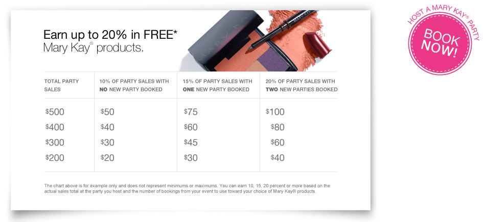 Find out how you can earn up to 20 percent in FREE Mary Kay® products.