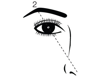 Step two, angle the pencil from the tip of the nose to the middle of the iris.